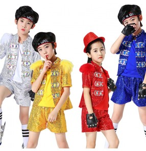 Boy modern dance jazz dance costumes silver sequins model show hiphop drummer stage performance costumes