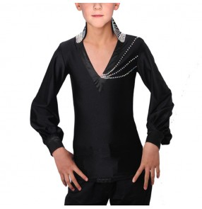 Boy modern dance latin ballroom dance shirts black colored kids children stones stage performance rumba salsa chacha dance tops shirts