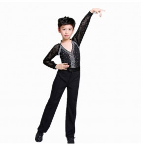 Boy modern dance latin dance shirts and pants kids children black royal blue stones stage performance competition ballroom dance tops and pants sets