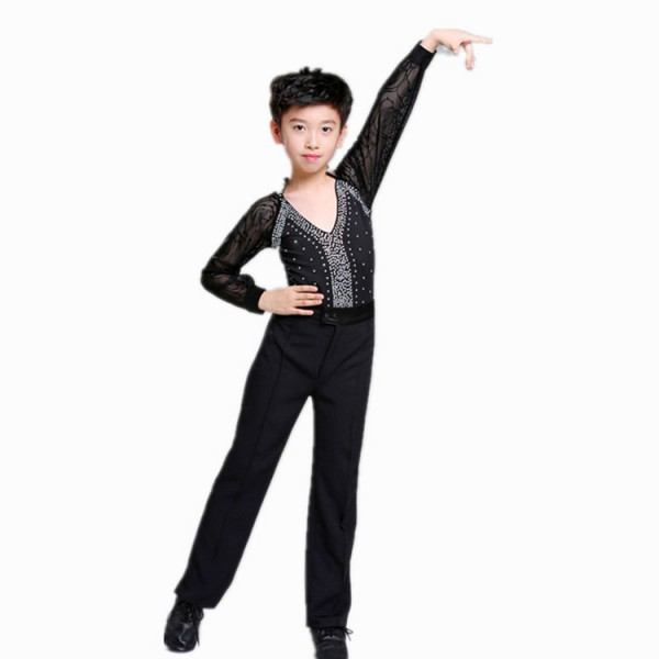 917665b10 Boy modern dance latin dance shirts and pants kids children black royal blue  stones stage performance competition ballroom dance tops and pants sets