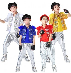 Boy modern dance sequins gold blue silver jazz dance costumes hiphop drummer model show stage performance outfits costumes