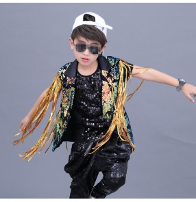 Boy modern dance street hiphop dance costumes kids children gold sequin drummer show performance vest and coat and pants outfits