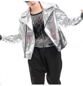 Boy modern dance street hiphop dance jacket silver drummer singers gogo dancers stage performance short length coats