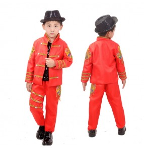 Boy modern  jazz dance costumes red colored with gold street singers host drummer chorus drummer stage performance coat and pants and vest