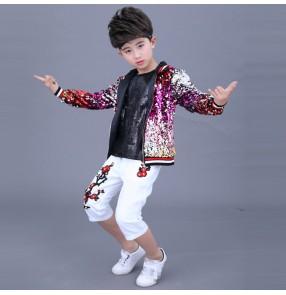 Boy modern jazz street dance costumes kids children drummer show stage performance hiphop robot dance jacket vest and pants