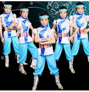 Boy Mongolian dance costumes chinese folk dance costumes riding drama cosplay outfits for kids children