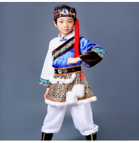 Boy Mongolian dance costumes traditional Chinese folk dance dresses for kids children