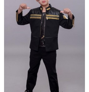 Boy pu leather jazz dance costumes street dance hiphop singers outfits drummer model stage performance show tops and pants