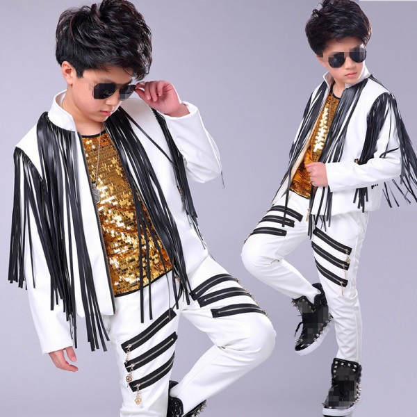 Boy Pu Leather Jazz Dance Costumes Street Hiphop Dance Outfits Drummer Model Show Performance Jacket And Pants