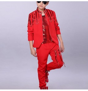 Boy red colored jazz dance costumes hiphop street dance outfits gogo dancers singer host drummer model show performance tops and pants