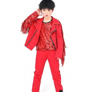 Boy red fringes rivet jazz dance costumes kids children street hiphop dance outfits drummer singers rap dance host stage performance jacket pants vests
