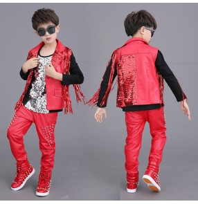 Boy red pu leather rivet jazz dance costumes hiphop gogo dancers host singers model show performance outfits costumi di danza jazz ragazzo