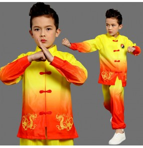 Boy red with gold kids dragon wushu costumes chinese kungfu taichi uniforms stage performance costumes