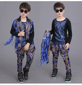 Boy royal blue sequins jazz dance costumes hiphop gogo dancers street dance model performance singer host blazer t shirt and pants
