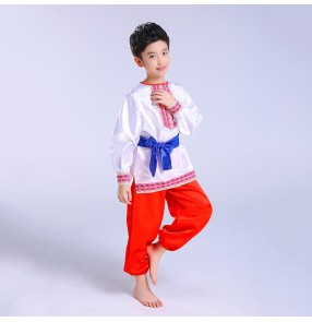 Boy russian folk dance costumes kids children party show European palace drama cosplay costumes dancewear outfits