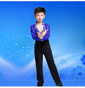 Boy's black royal blue latin dance shirts and pants competition ballroom stage performance rhinestones outfits for kids children latin shirts and pants