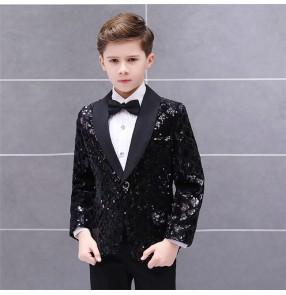 Boy's children kids black sequin jazz dance blazers suit modern dance singers host drummer show performance coats jackets