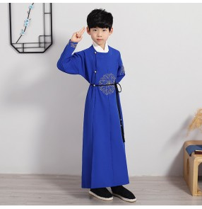Boy's chinese tang suit china gown and mandarin jacket Cross talk kung fu tai chi robes for kids Chinese style young master's coat