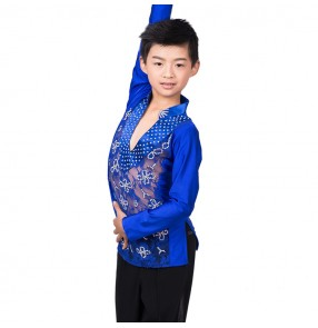 Boy's competition lace ballroom latin dance tops shirts modern dance stage performance rumba chacha salsa dance shirts tops