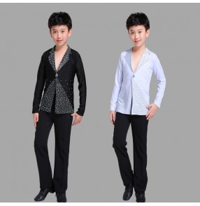 Boy's competition latin ballroom dance shirts and pants kids children black and white colored modern dance chacha salsa dance sets costumes shirts