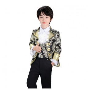 Boy's European palace singers host performance suit gold with black color boy Christmas prince piano choir performance retro stage costume