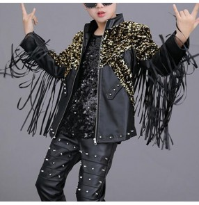 Boy's fringes white black leather jazz dance jackets host movie film cosplay singers drummer model show performance coats
