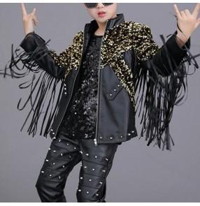 Boy's fringes white black leather jazz dance jackets host movie film cosplay singers drummer model show performance coats