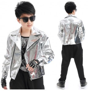 Boy's jazz dance costumes silver fashion drummer hiphop street modern dance stage performance jacket and pants and vest outfits