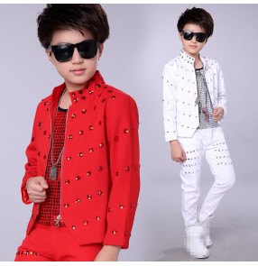 Boy's jazz dance outfits children street modern dance hip hop drummer host singers gogo dancers model show stage performance costumes