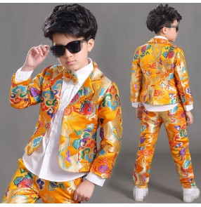 Boy's jazz dance outfits gold dragon Chinese embroidered style tang suit for kids model show host chorus stage performance jacket and pants and shirts