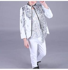Boy's jazz modern dance outfits costumes kids children hiphop gogo dancers stage performance drummer show performance coats vests pants