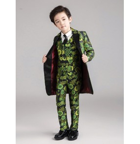 Boy's jazz piano show performance costumes green floral wedding flower boys blazer and pants and waistcoats