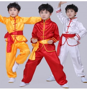 Boy's kids kungfu wushu chinese folk dance costumes martial dragon tachi stage performance costumes