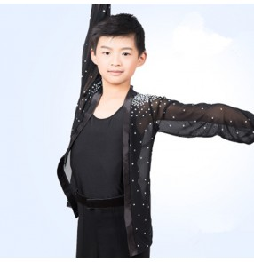 Boy's latin ballroom dance mesh shirts children kids black stones tops open flying rumba chacha modern dance cardigans