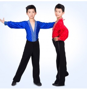 Boy's latin dance tops shirts kids children stage performance professional royal blue red rhinestones competition dance shirts