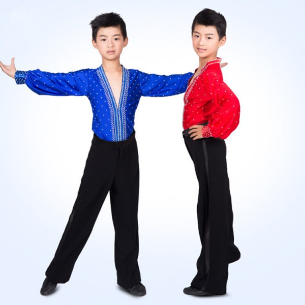 3c5682541 Boy's latin dance tops shirts kids children stage performance professional royal  blue red rhinestones competition dance shirts