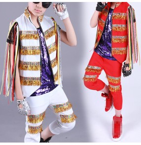Boy's modern jazz hiphop street dance costumes Kids children paillette red gold white show drummer performance clothes dance wear outfits