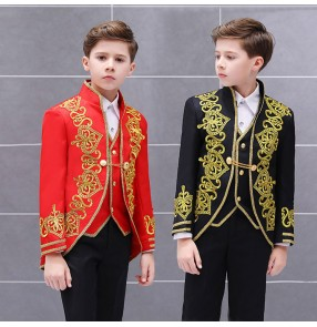 Boy's red black embroidered stage performance European palace cosplay suits kids children court drama prince charming costumes top and pants shirt vest