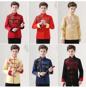 Boy's  red gold chinese Tang suit boy dress shirt Chinese tunic suit poetry recitation Chinese culture performance clothing chorus jackets for boy