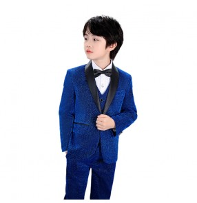 Boy's royal blue singers host performance dress suit glitter flowers boys vest three-piece coat vest and pants stage catwalk piano show birthday party suit