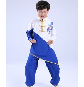 Boy's wushu martial art performance clothing for kids chinese chinese dragon taichi kungfu uniforms for boys pratice group performance clothing