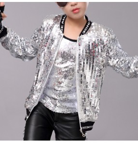 Boy sequin gold silver bling jazz rap dance jackets kids children hiphop street dance coats singers host stage performance modern dance coats