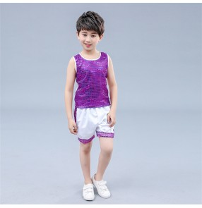 Boy sequin jazz dance costumes children drummer modern dance stage dj ds school competition hiphop dance outfits tops and shorts