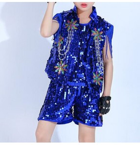 Boy sequin jazz dance costumes gold silver royal blue paillette street hiphop drummer stage performance costumes outfits