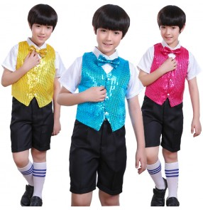 Boy sequin jazz dance costumes kindergarten school modern dance singers host chorus stage performance outfits vest and shirt pants