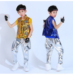 Boy sequin jazz dance costumes silver red gold royal blue hiphop drummer show stage performance street dance cheerleaders dance outfits costumes