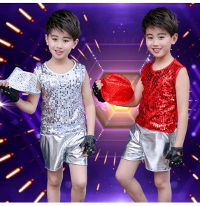 Boy sequin modern jazz dance costumes stage performance hiphop drummer stage performance tops and shorts