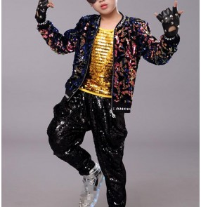 Boy sequins jazz dance costumes model modern dance street hiphop dance outfits rap singers gogo dancers drummer performance coat and pants