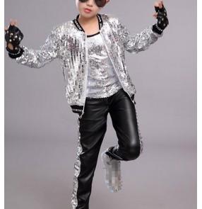 Boy silver gold sequin jazz dance costumes kids hiphop gogo dancers drummer host stage performance singers rap dance tops and pants