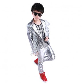Boy silver rivet jazz dance costumes children hiphop dance outfits gogo dancers model show modern dance stage performance coats and pants